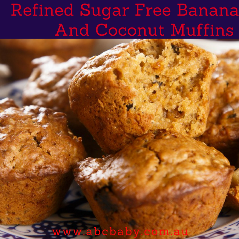 Refined Sugar Free Banana And Coconut Muffins