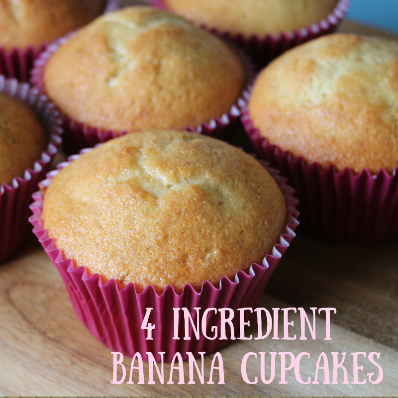 4 Ingredient Banana Cupcakes!