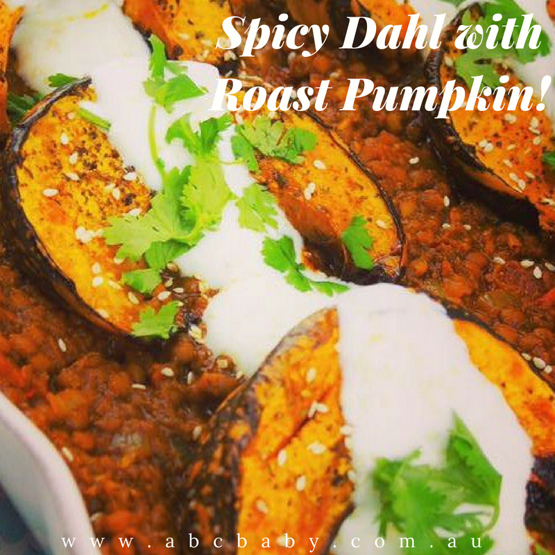 Spicy Dahl with Roast Pumpkin