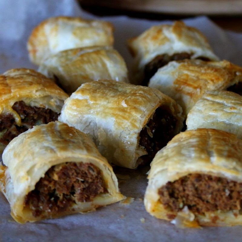 Curried Beef Sausage Rolls